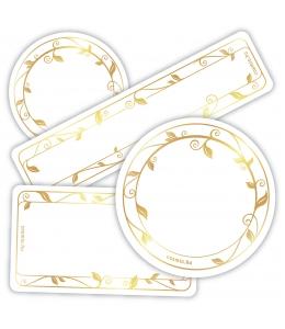 Papírcímke, aranyszínű, többféle méretben