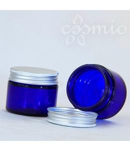 Kék üvegtégely, 50 ml űrtartalmú