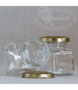 Szögletes üvegtégely fémtetővel