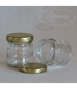 Mini üvegtégely aranyszínű fémtetővel