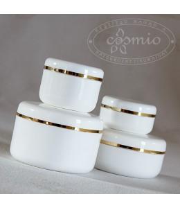 Kozmetikai tégely arany csíkkal