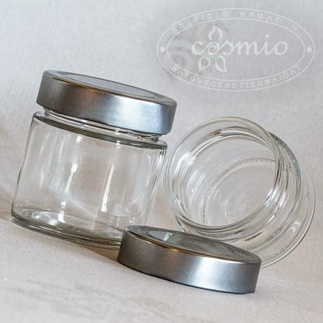 Üvegtégely ezüstszínű fémtetővel 106 és 212 ml-es űrtartalommal