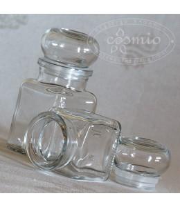 Szögletes üvegtégely üvegdugóval