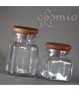 Szögletes üvegtégely fadugóval